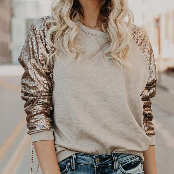 Casual loose sequin sleeve joint women top