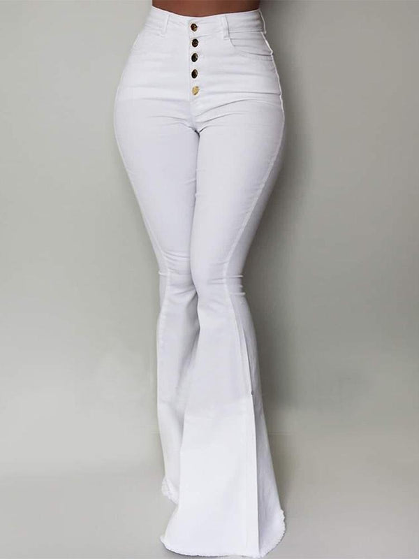 Pure color multi-button women bell-bottomed pants