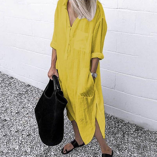 Simple pure color autumn women shirt dress