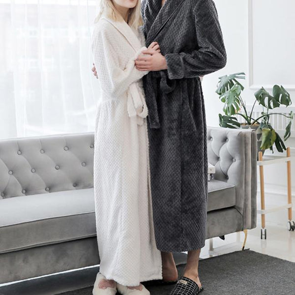 Lovers plain keep warm belted  pajamas