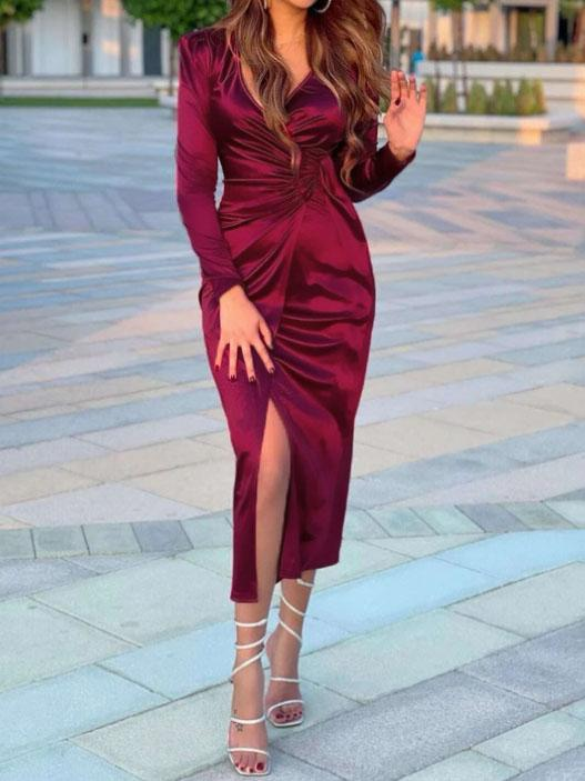 Sexy deep v neck plian slim slit maxi dress