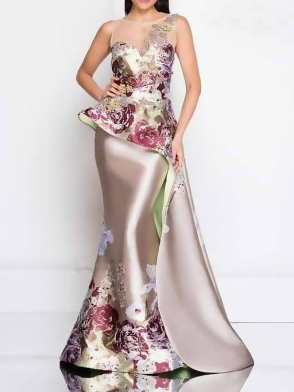 Flower 3D printed sleeveless banquet dress