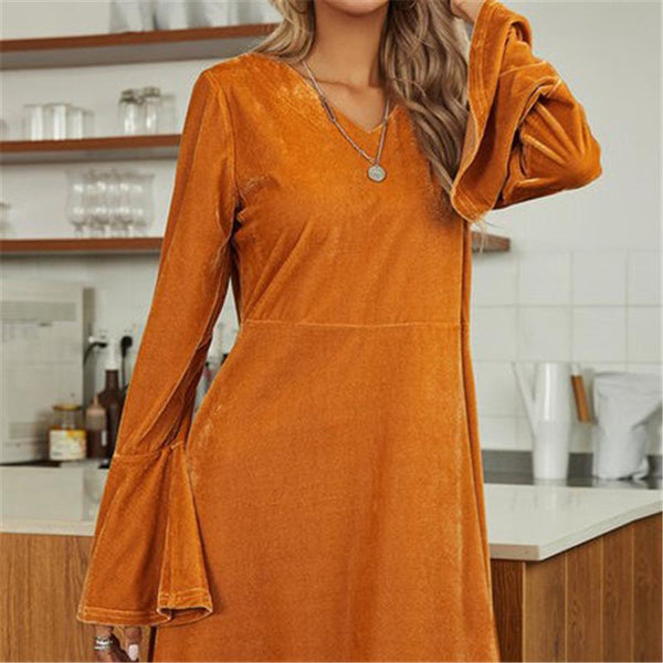 Puff sleeve pure color flannelette women dress