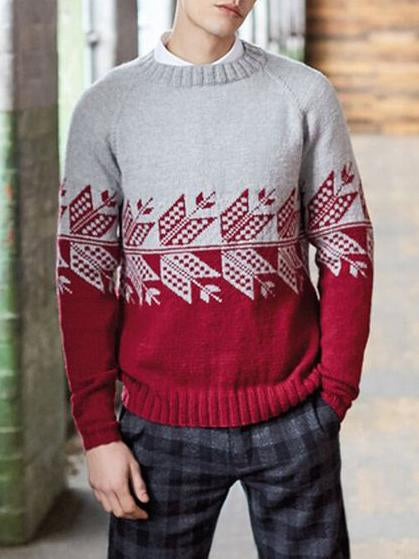 Men color block round neck knit sweater