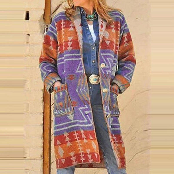 Chic printed loose button faux woolen long coat