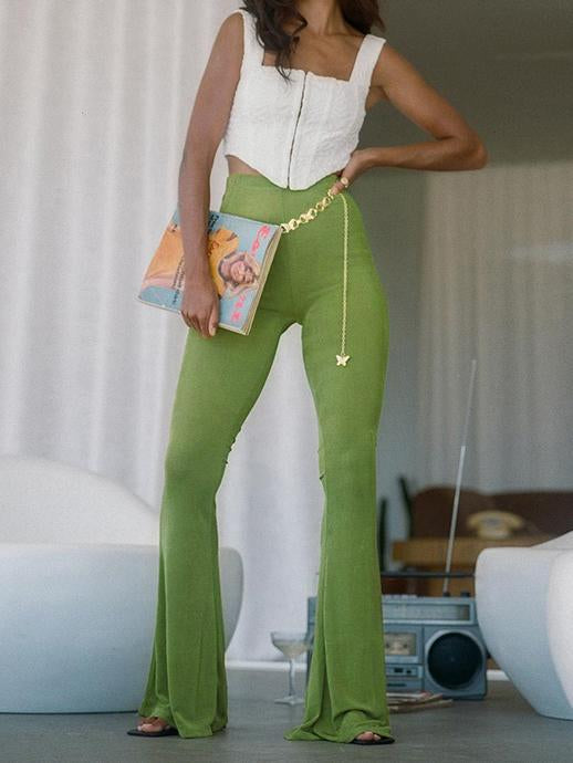 Pure green causal slim bell-bottomed pants