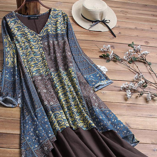 Ethnic style cotton&linen v neck long sleeve dress