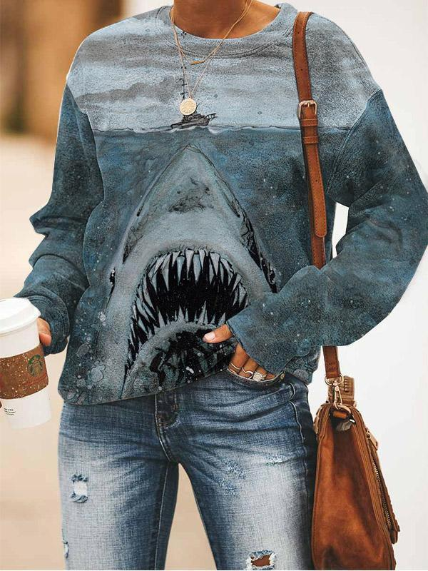 Funny shark printed round neck hoodie