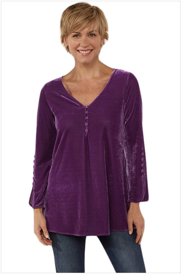 V neck loose plain button decorated long sleeve velvet top