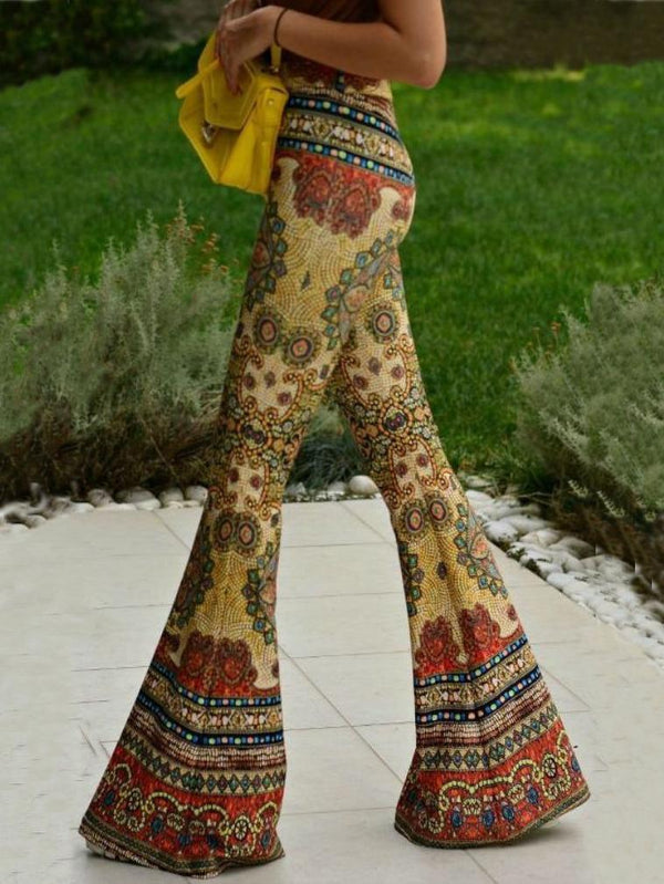Vintage YELLOW slim printed flared pants