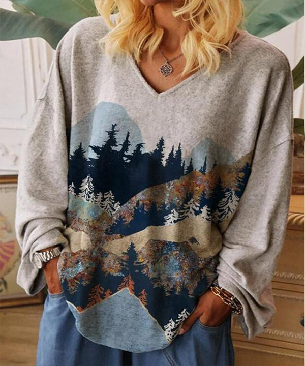 V neck loose scenery printed long sleeve shirt