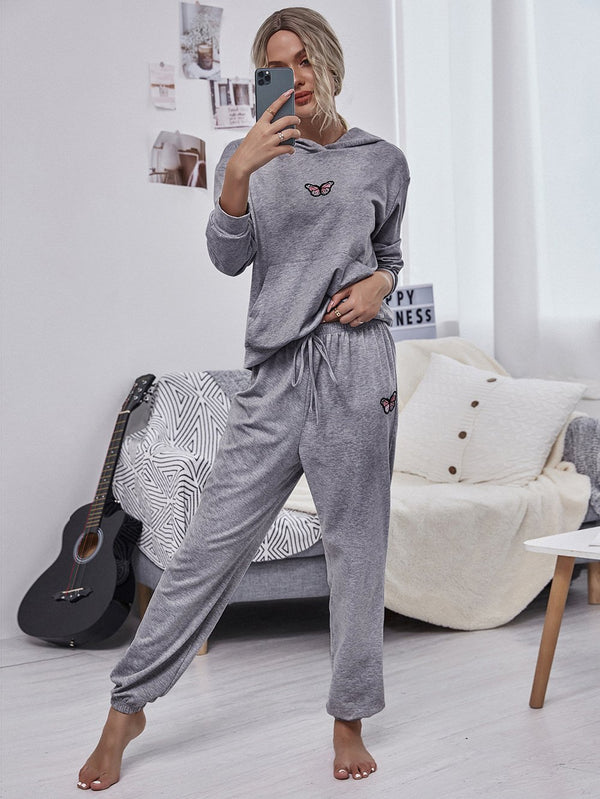 Daily loose butterfly printed two piece suit
