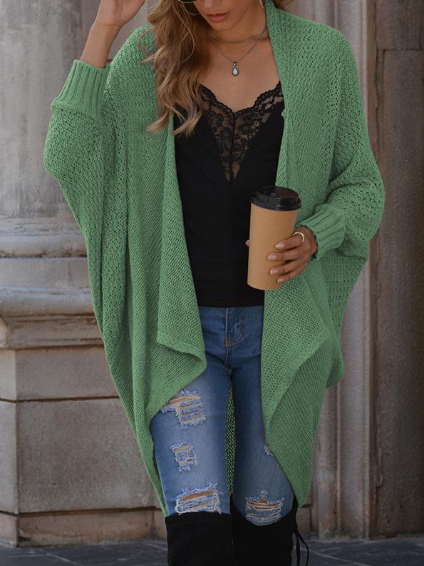 Solid color medium length casual knitting sweater cardigan