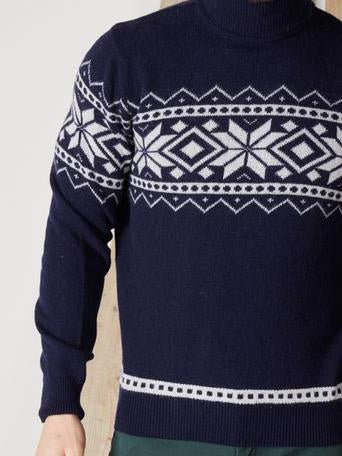 Men high neck navy blue knit sweater