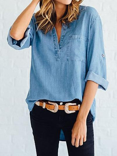 V neck loose denim long sleeve shirt