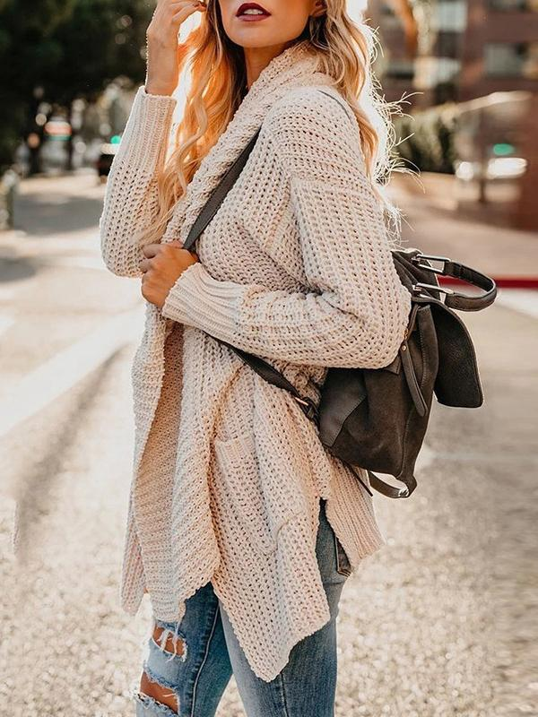 Plain asymmetrical sweater cardigan coat with packets
