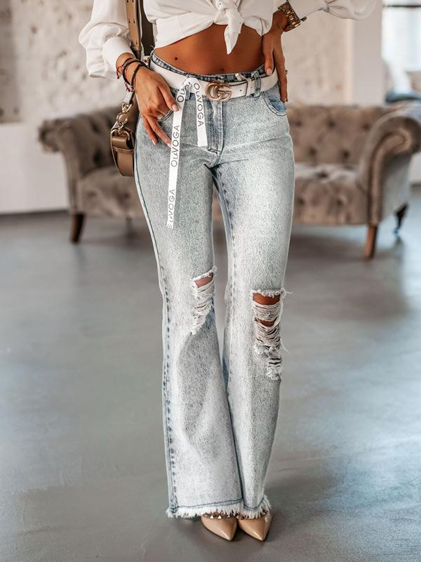 Fashion high waist hole and fringe decorated pants jeans