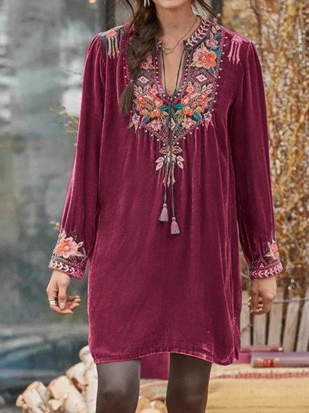 V neck floral embroidery loose long sleeve velvet top