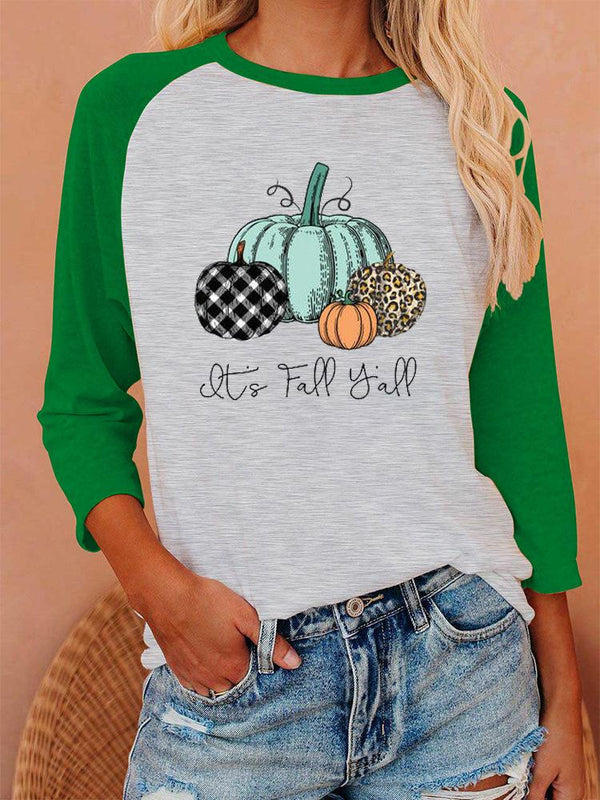 Halloween pumpkin printed color block three quarter sleeve top