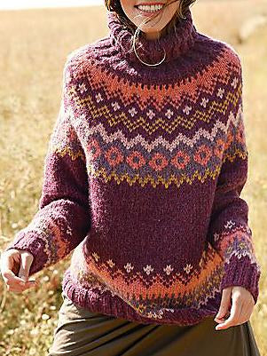 Purple high neck printed loose sweater