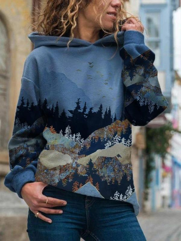 Blue mountains-and-waters painting loose hoodie with hat