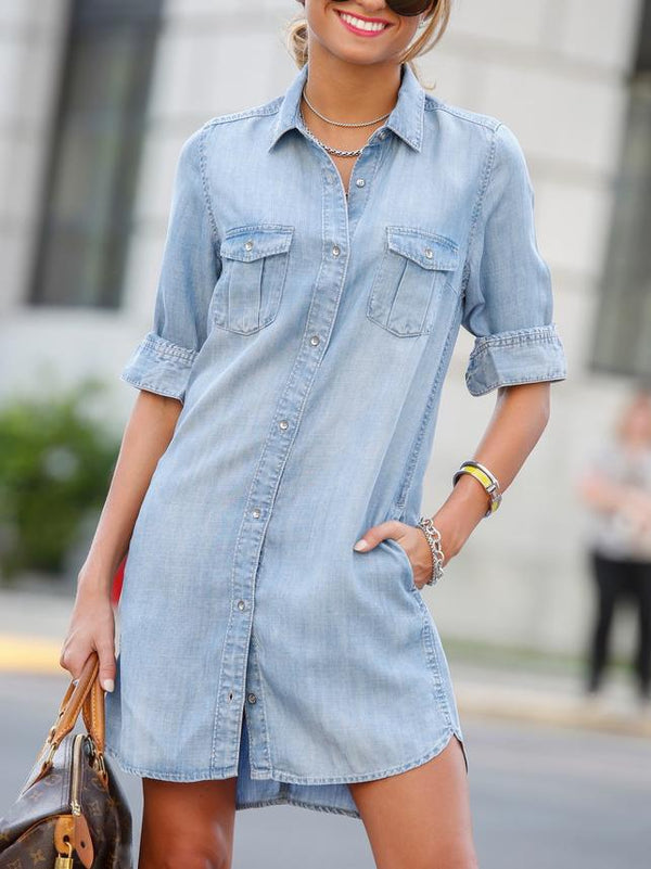 Denim plain lapel slit shirt dress
