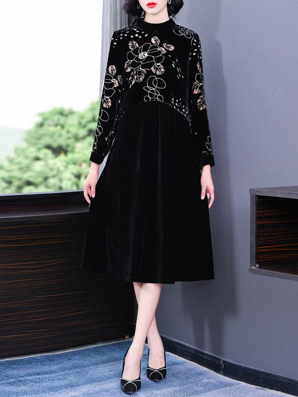 Women flower printed black velvet dress