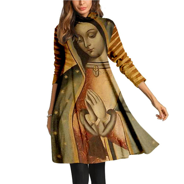 High collar the Madonna printed long sleeve dress
