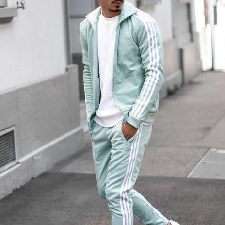 Men contrast color casual sport suit
