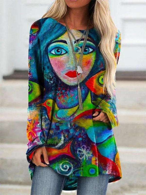 Colorful printed loose long sleeve shirt