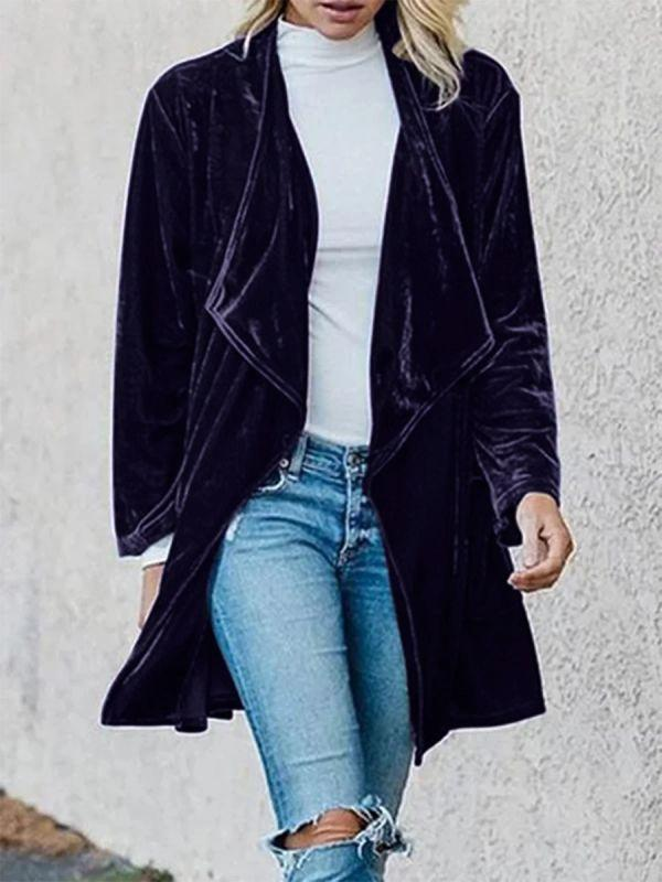 Fashion lapel plain loose velvet cardigan