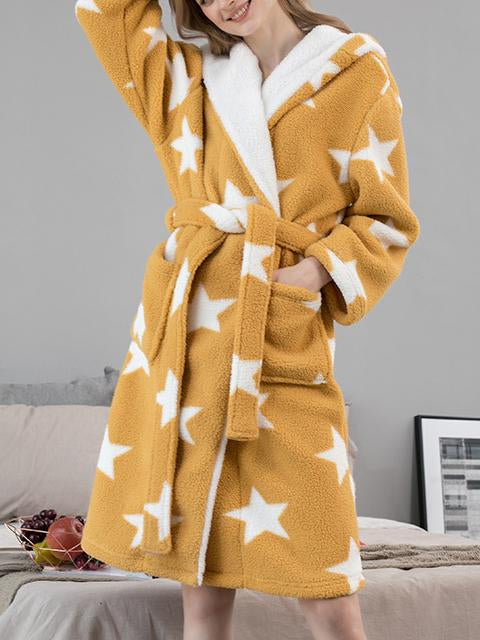 Keep warm stars printed fleece pajamas