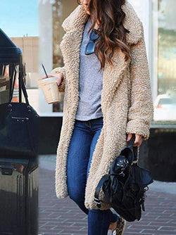Soft faux lambelwool loose long coat