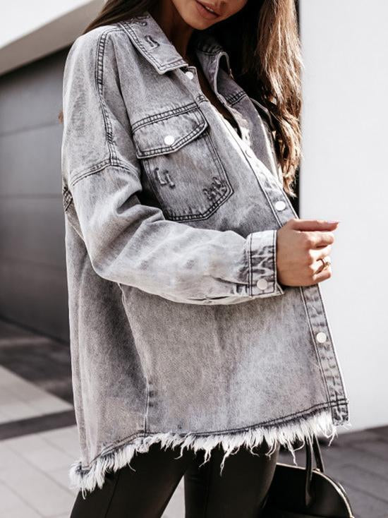 Fashion loose fringe embellished denim coat