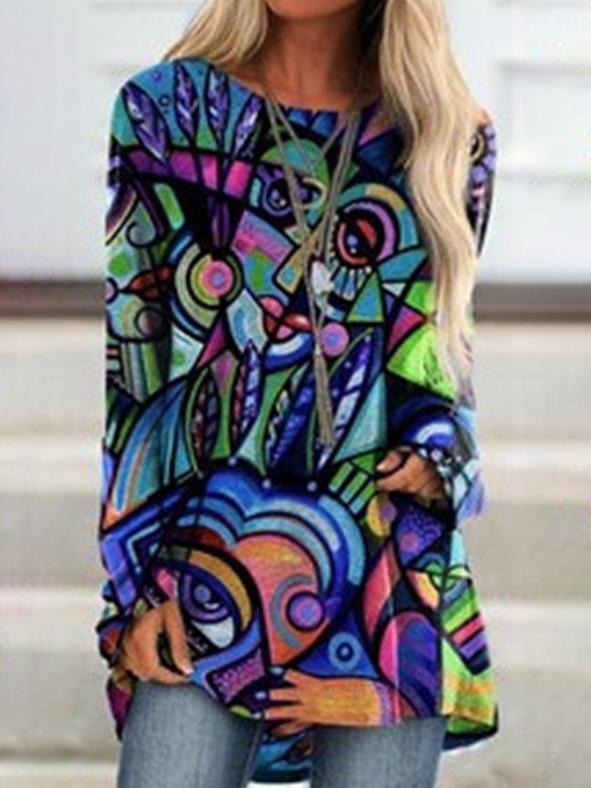 Abstract round neck loose long sleeve shirt