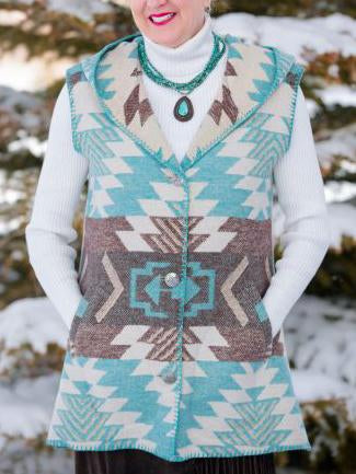 Winter printed keep warm vest coat
