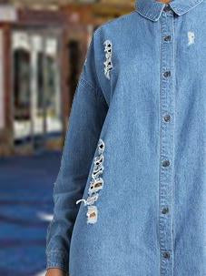 Lapel plain loose hole long sleeve  denim dress