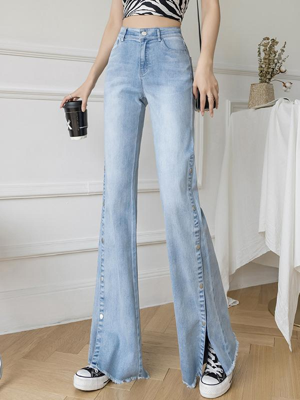 High waist light color women bell-bottoms jeans