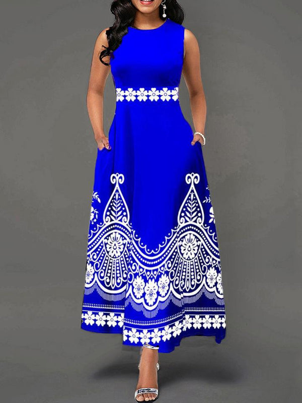 Sleeveless women round neck printed long dress