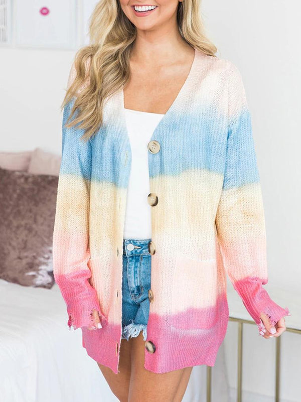2020 colorful printed loose knit sweater coat