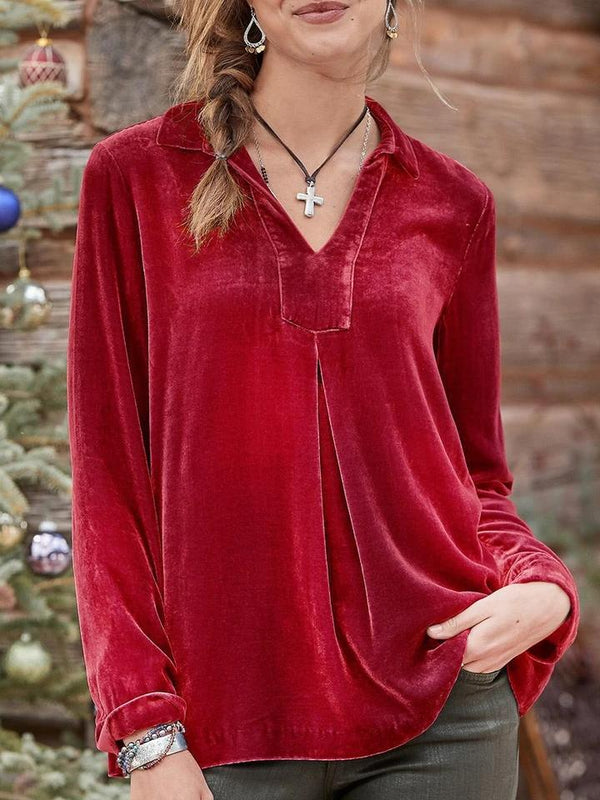Plain v neck loose velet long sleeve top