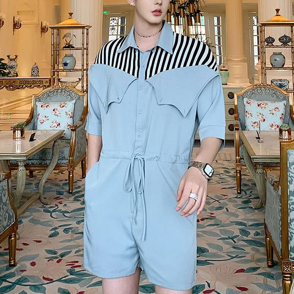 Stripe shoulder men short sleeve fashion jumpsuit