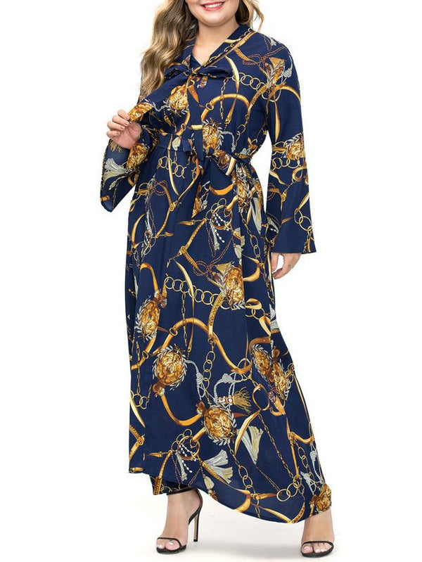 Muslim loose chain pattern chiffon black/blue dress