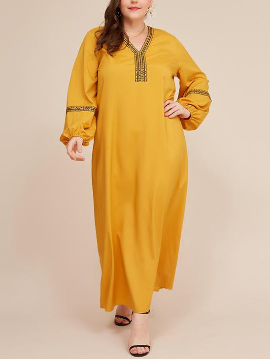 Yellow puff sleeve women embroidery joint dress
