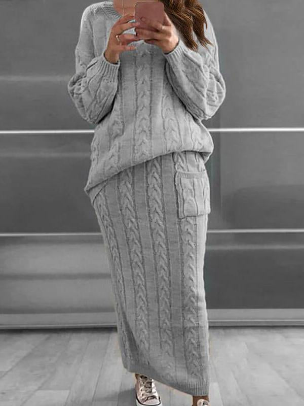 Fashion plain sweater top and skirt suit