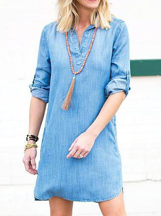 Lapel v neck plain long sleeve short denim dress