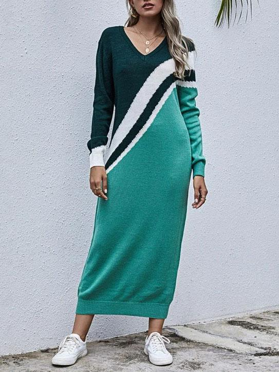 V neck color block slim maix dress