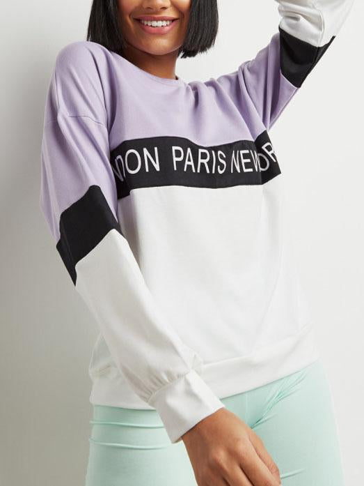Round neck letter printed long sleeve top