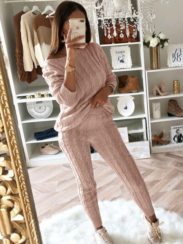 Fashion sweater top and trousers two piece suit