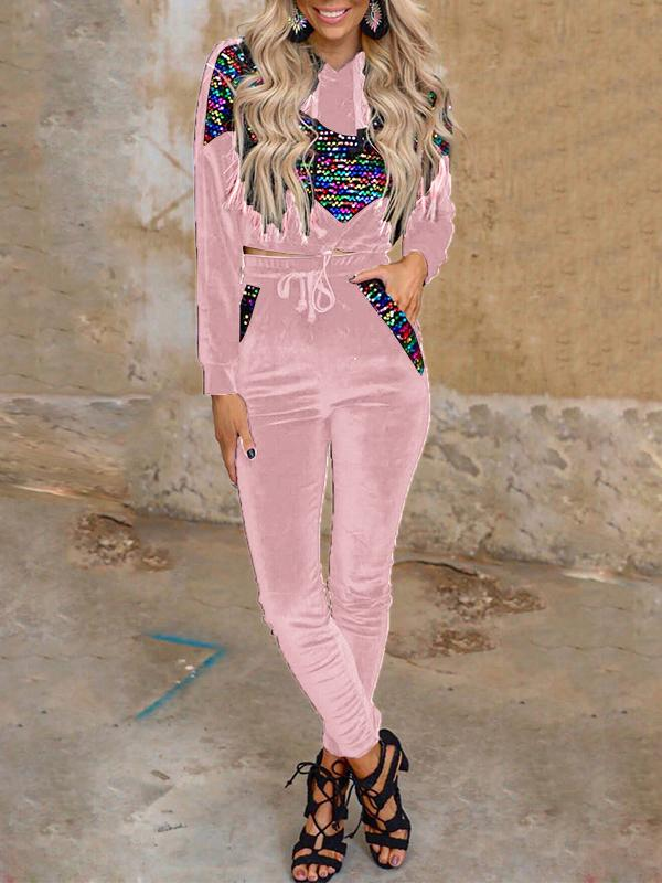 Colorful sequin printed women fashion velvet casual top&pants set